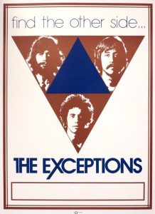 Classic poster from the late 1970s, featuring popular pop rock band, The Exceptions